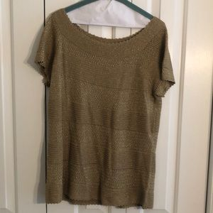 Ralph Lauren XL gold metallic silk polyester top